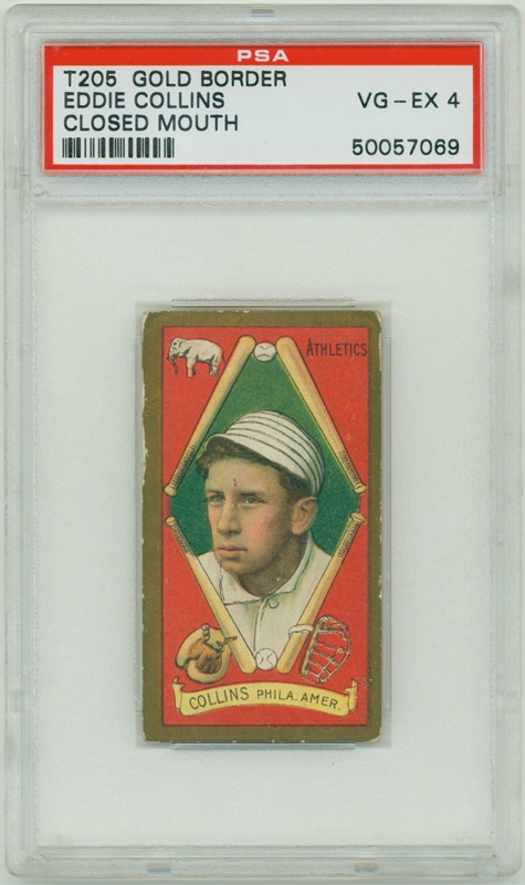 T205 Eddie Collins Closed Mouth  PSA 4 VG-EX