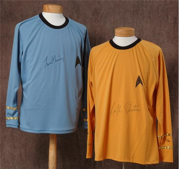 William Shatner & Leonard Nimoy Signed Star Trek Shirts