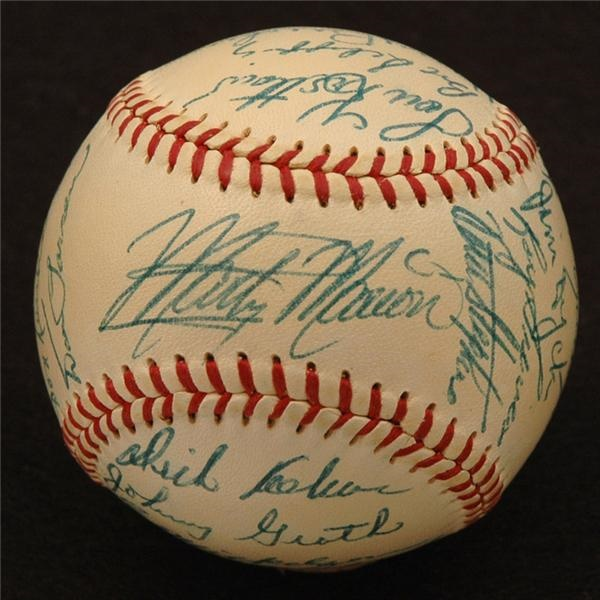 1953 St. Louis Browns Team Signed Baseball w/ Marty Marion on Sweet Spot