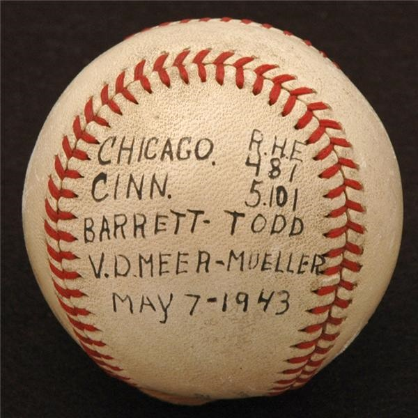 Johnny Vandermeer Win Baseball from His Collection