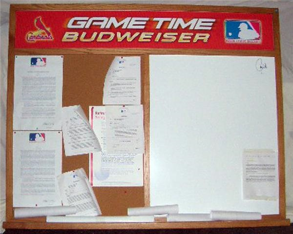 Cardinals Clubhouse Budweiser Message And Dry Erase Board Signed By Larry Walker