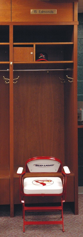 Jim Edmonds Cardinals Locker Signed with Nameplate and Chair