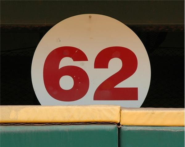 "Mark McGwire ""62"" Home Run Sign From Where He Hit It Behind the Leftfield Wall"