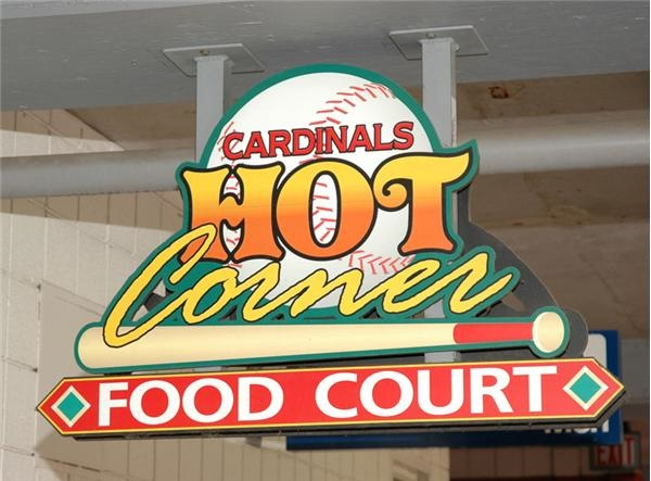 "Cardinals' ""Hot Corner"" Sign from  the Food Court"