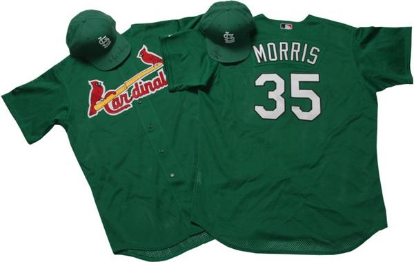 "Game-Issued  Reggie Sanders Cardinals  ""St. Patrick's Day"" Green  Jersey and Signed Cap from 3/17/05"