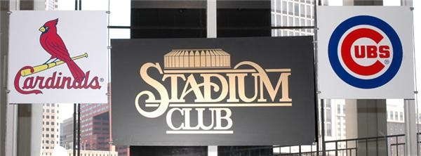 Stadium Club Sign with Cardinals and Visiting Team Signs