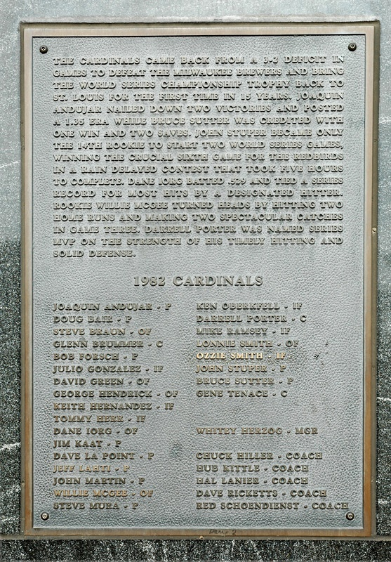 Cardinals Winning World Series Pennant, Year Marker and Plaque - 1982