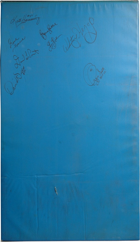 1982 Busch Stadium Outfield Wall Pad Signed by 8 Cardinal Players