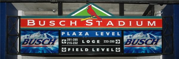 Busch Stadium Entrance Sign from Loge Level