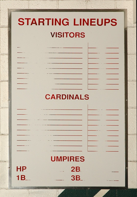 Busch Stadium Jim Toomey  Press Lineup Card, telephone