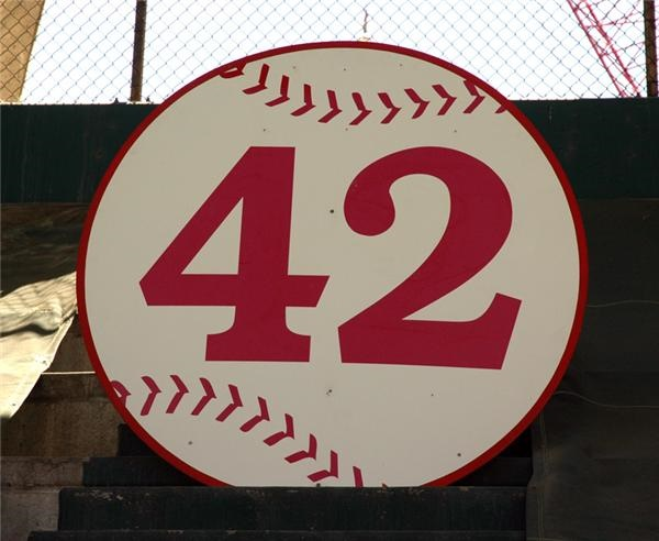 Jackie Robinson No. 42 Sign from Upper Deck Retired Player Numbers Section