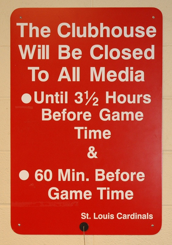 Club house closed media sign