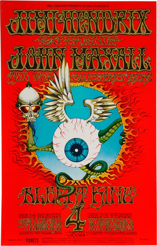 Jimi Hendrix Flying Eyeball Concert Poster