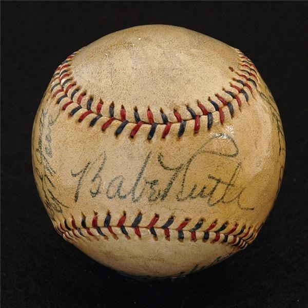 1933 Yankees Autographed Baseball With Babe Ruth