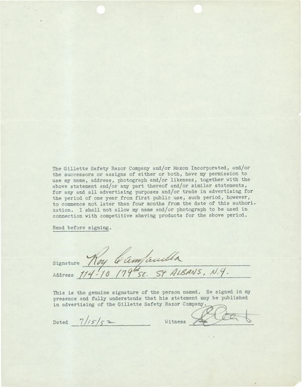 1952 Roy Campanella Signed Gillette Contract