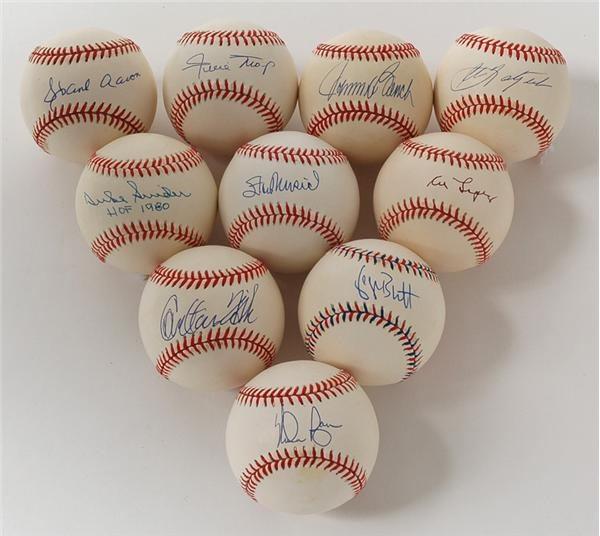 Living Hall Of Famers Single Signed Baseballs Collection Of 44 Different