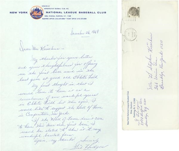 1969 Gil Hodges Handwritten And Signed Mets Letter