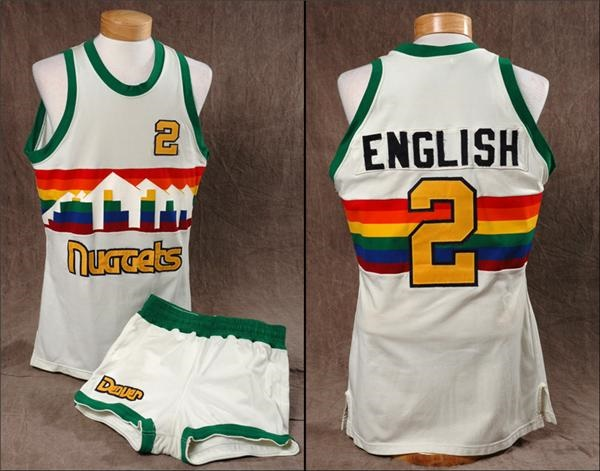 the latest a3a72 50d62 Alex English Game Worn Denver Nuggets Jersey And Shorts