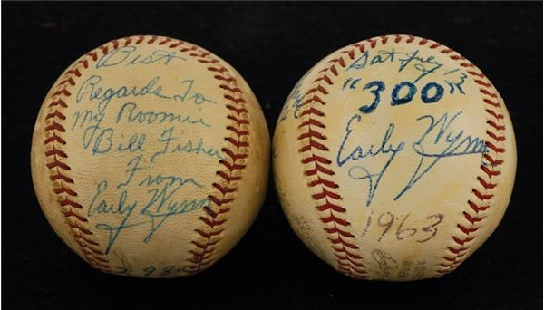 Early Wynn 300th and 298th Win Game Used Baseballs