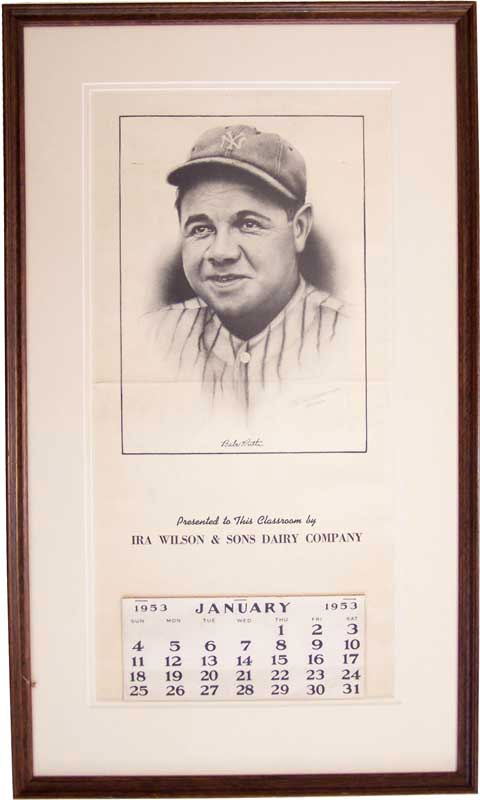 Babe Ruth Large Framed Calendar from 1953