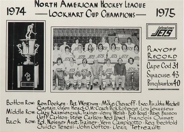 1974 Johnstown Jets Team Photograph with The Hanson Brothers