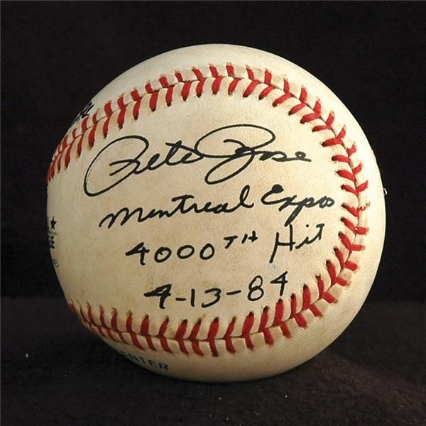 Pete Rose 4000th Hit Game Used Baseball