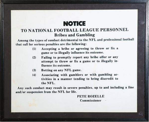 National Football League Bribes and Gambling Conduct Locker Room Sign