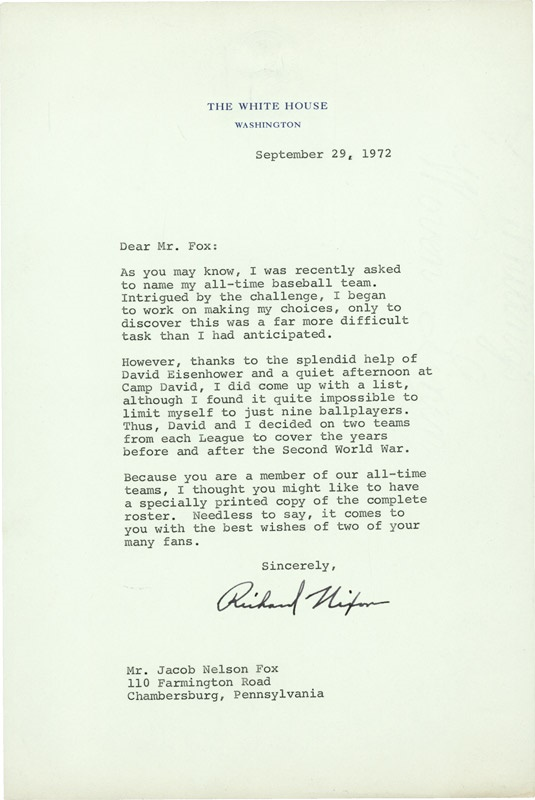 Richard Nixon Letter to Nellie Fox