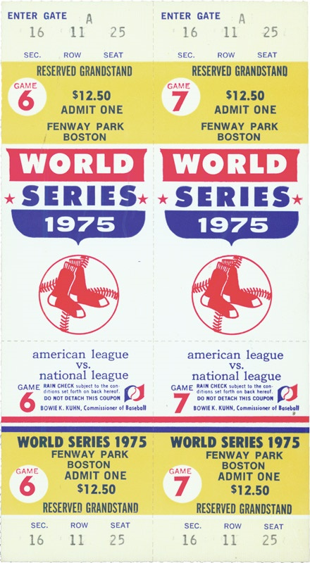 1975 World Series Game 6 (Fisk Homerun) and Game 7 Full Tickets