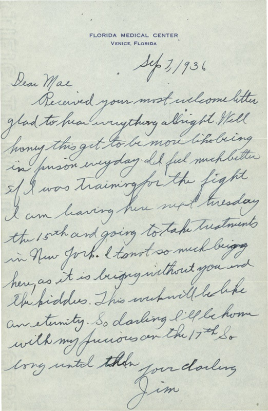 James J. Braddock One-Page 1936 Handwritten Letter to his wife Mae