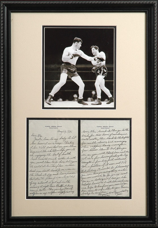 James J. Braddock Two-Page 1936 Handwritten Letter to his wife Mae
