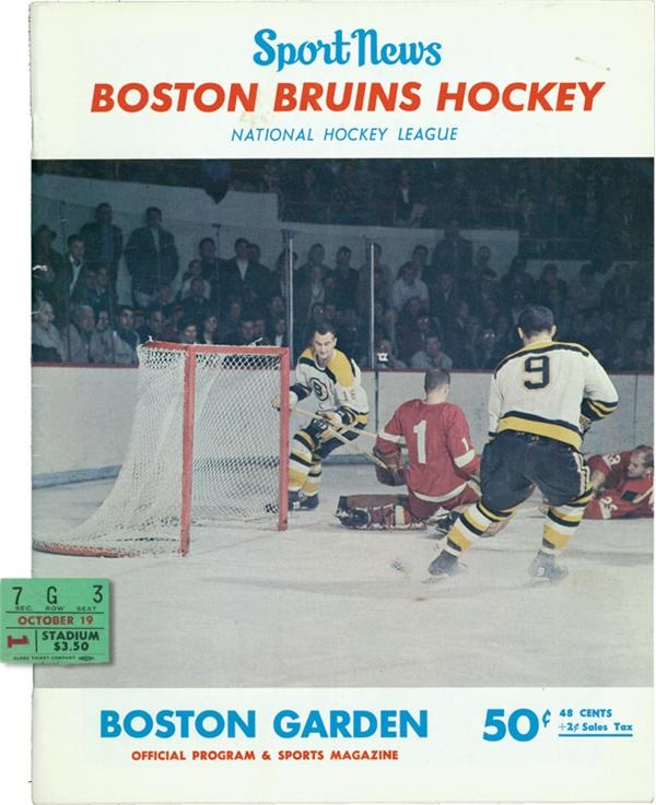 1966 Bobby Orr First Game Program and Ticket Stub
