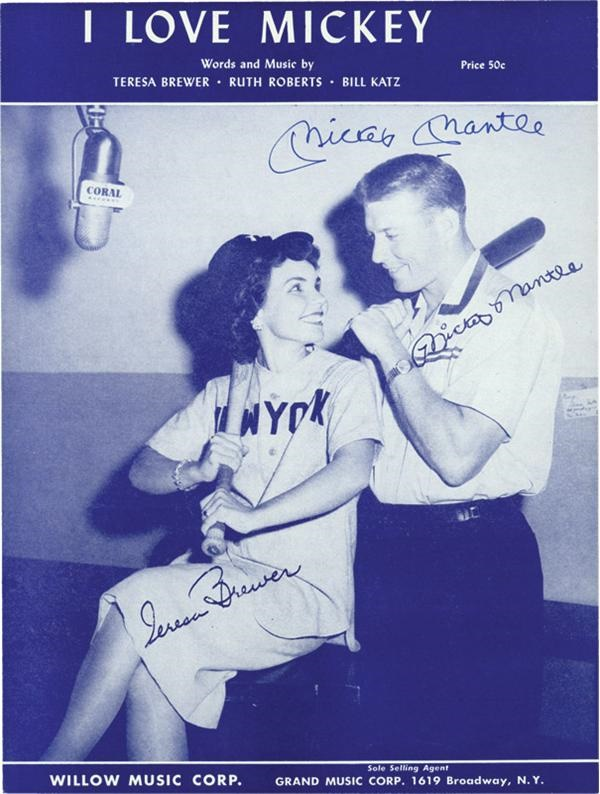 Mickey Mantle and Joe DiMaggio Signed Sheet Music (2)