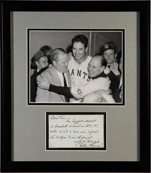 Bobby Thomson Hand Written Note Describing His Biggest Moment in Baseball with Original Photo