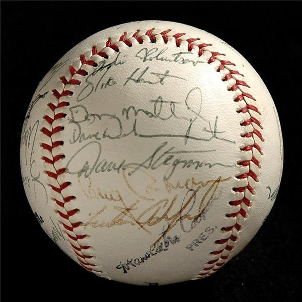 1982 Team Signed Columbus Clippers Baseball with Don Mattingly