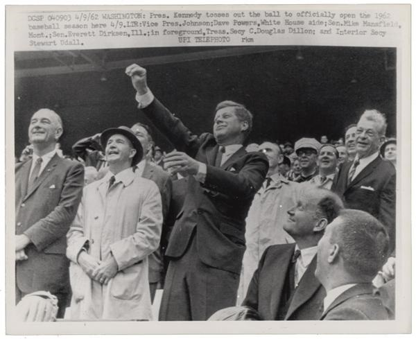 JFK Throwing Out the First Pitch of the 1962 Baseball Season