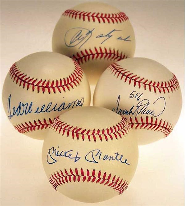 Collection of Single Signed Baseballs with Mantle and Williams (4)