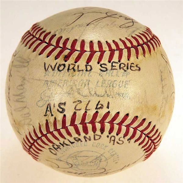 1972 Athletics Worldl Champions Team Signed Baseball