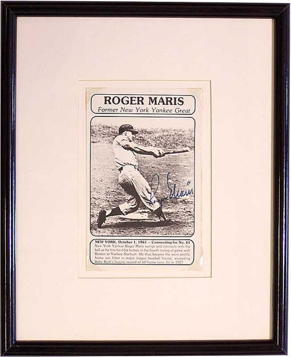 Framed Roger Maris Signed Yankee Baseball Photo.