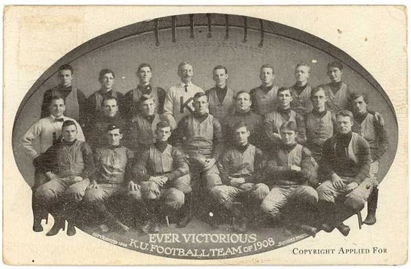 Rare 1908 Kansas University Football Team Postcard.
