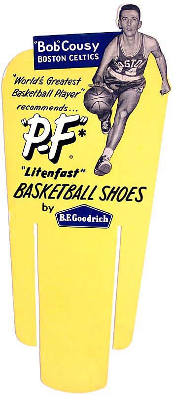 1950s Bob Cousy PF Flyer Basketball Shoes Ad Sign