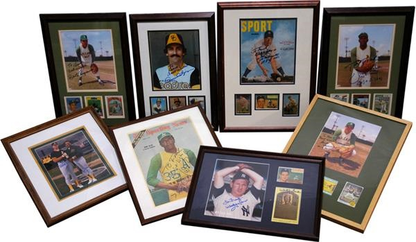 Collection of 8 Framed Signed Baseball Photos some with Cards