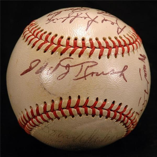 Baseball Signed by Seventeen Hall of Famers and Stars