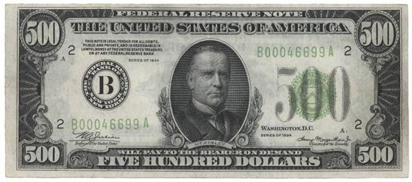 Series of 1934 Federal Reserve Note $500 Dollar Bill