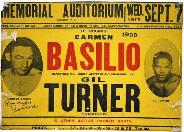 1955 Carmen Basillio vs. Gil Turner On Site Fight Poster and 1957 Saxton-Basilio Sports Illustrated Cover Lot