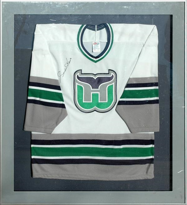 Gordie Howe Signed Hartford Whalers Jersey (framed display).