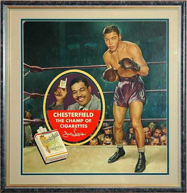 1930s Joe Louis Chesterfield Cigarettes Display Sign