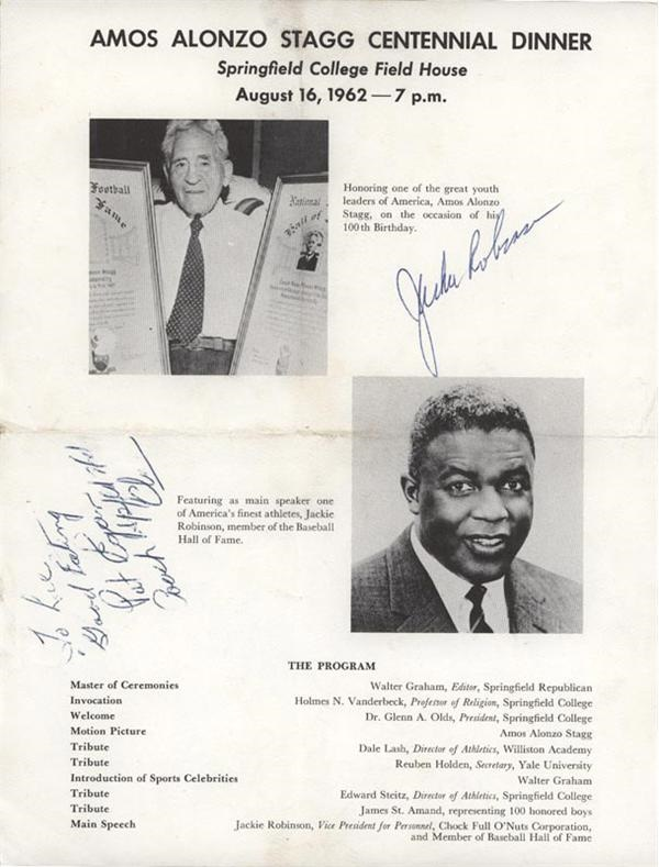 Jackie Robinson Signed AA Stagg Dinner Brochure