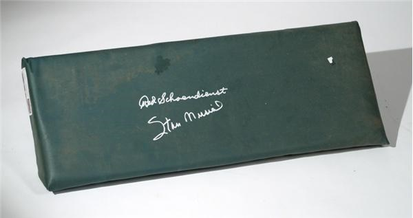 Old Busch Stadium Wall Pad Signed by Stan Musial and Red Schoendienst