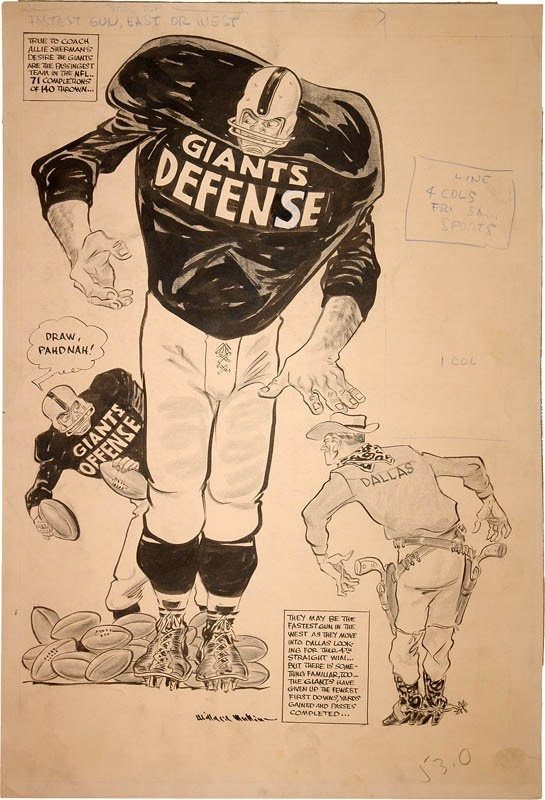 1950s NY Giants & Dallas Texans Football Artwork by Willard Mullin